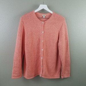 L.L. Bean Orange Knit Cardigan Sweater XL